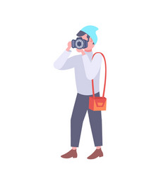 man photographer taking picture with camera casual vector image