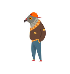 man with eagle head fashion bird character vector image