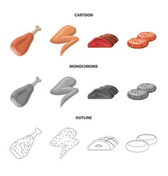Meat and ham sign set of vector