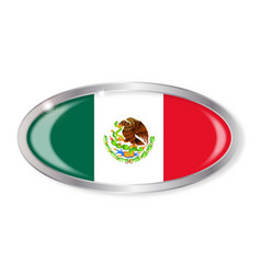 Mexico flag oval button vector