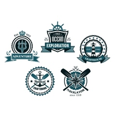 Nautical and marine emblems or icons vector image