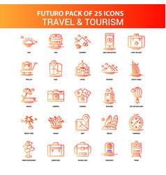 orange futuro 25 travel and tourism icon set vector image
