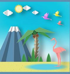 Paper origami summer scene vector