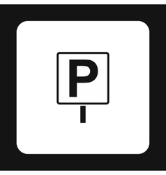 Parking sign icon simple style vector image