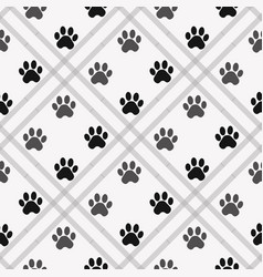 Paw print seamless traces of cat textile pattern vector