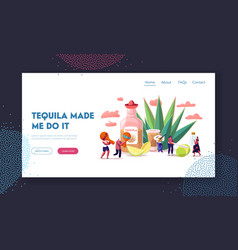 people drinking tequila landing page template vector image
