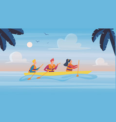 People in kayaking tour in tropical nature vector