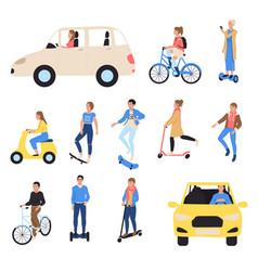 people riding ecological transport isolated hand vector image