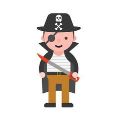 Pirate children in halloween costume flat design vector
