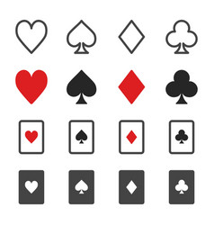 Playing card icon set vector