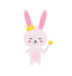 Princess rabbit with magic wand and crown vector
