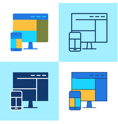 responsive design icon set in flat and line style vector image