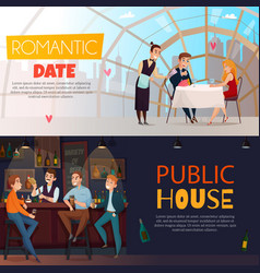 Restaurant pub visitors horizontal banner set vector
