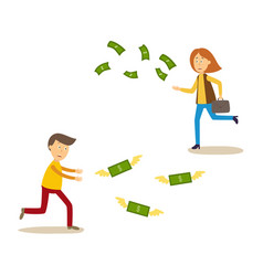 sad man and woman running after money flying away vector image
