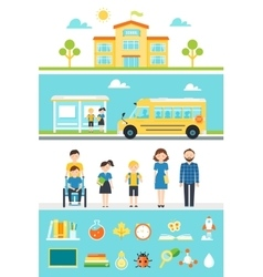 School Education Design Elements and Icons vector image
