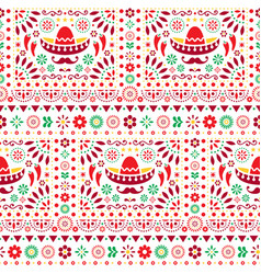seamless mexican floral pattern vector image