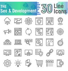 seo and development line icon set vector image