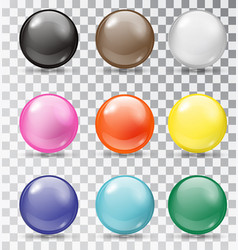 set glossy balls on a transparent background vector image