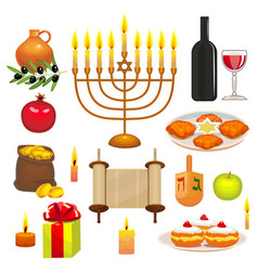 Set of hanukkah celebration elements vector