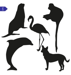 Set of silhouettes of animals vector