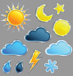 Set weather icon vector