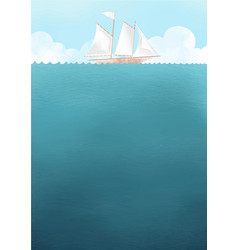 Ship on the sea with cloud sky vector