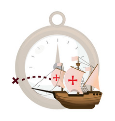 Ship sails cross and compass object vector