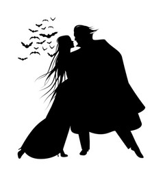 silhouette of romantic and victorian couple vector image