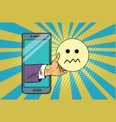 skepticism emoji emoticons in smartphone vector image