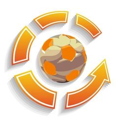 soccer ball circle with arrows vector image