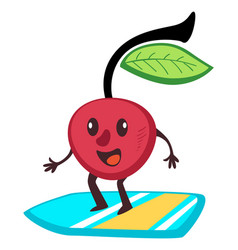 sportive cherry berry surfing on board summer vector image