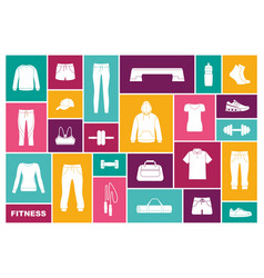 sports clothing equipment and accessories flat vector image