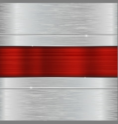 Stainless steel texture with red center plate vector