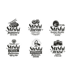 Sushi and rolls logo or label japanese food set vector
