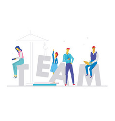 team - flat design style colorful vector image