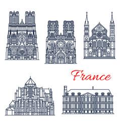 Travel landmark of french roman catholic church vector