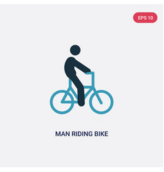 Two color man riding bike icon from sports vector