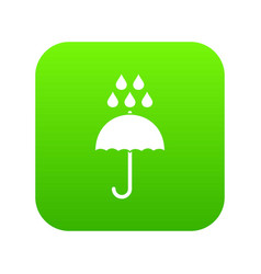 umbrella and rain drops icon digital green vector image