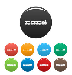 Wagons icons set color vector