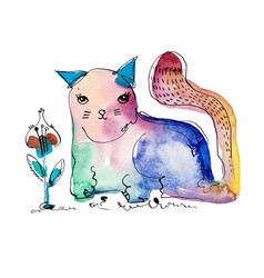 Watercolor hand drawing of cat vector