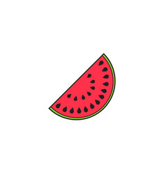 Watermelon solid line icon healthy fruit vector