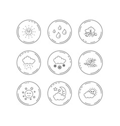 weather sun and rain icons moon night vector image