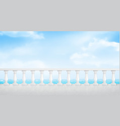 White marble balustrade on balcony or seafront vector
