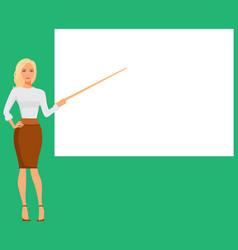 woman pointing at the presentation display board vector image