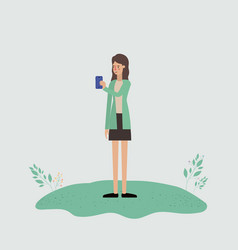 woman using smartphone in the field vector image