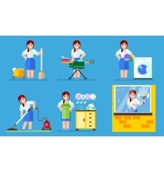 Woman washing and cleaning Household series vector image