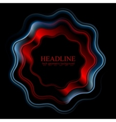 Abstract bright wavy ring logo on black background vector image vector image