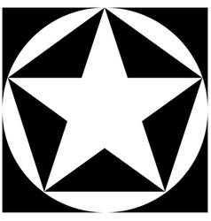 black and white star pentagon circle square vector image