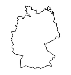 Black contour map of Germany vector image