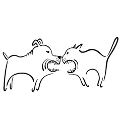 cat and dog fight vector image vector image